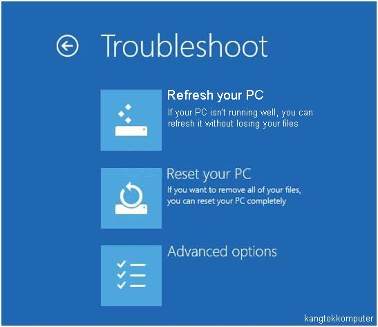 menu troubleshoot windows 8