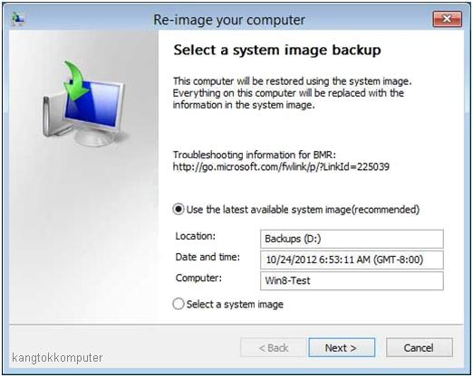 menggunakan backup system image windows 8