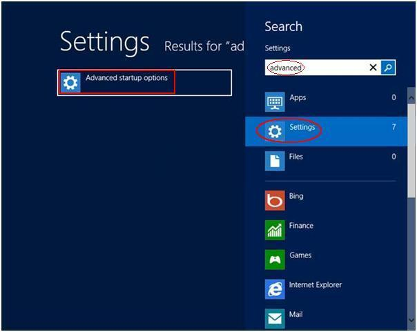 advanced startup options windows 8